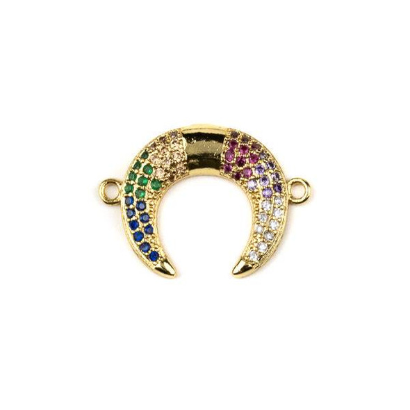 Gold Plated Brass Pave 17x24mm Half Moon Link with Multicolor Cubic Zirconias - 1 per bag