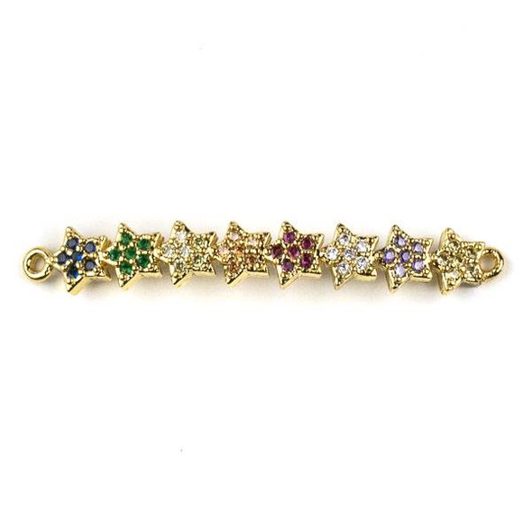 Gold Plated Brass Pave 6x41mm Star Curved Bar Link with Multicolor Cubic Zirconias - 1 per bag