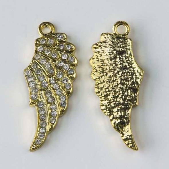 Pave 13x32mm Gold Angel Wing with Crystals