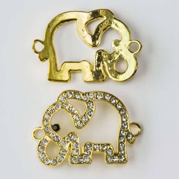 Pave 23x35mm Gold Elephant Link with Crystals