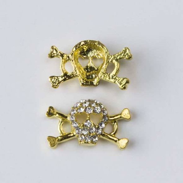 Pave 10x17mm Gold Skull and Cross Bones with Heart Eyes and Crystals