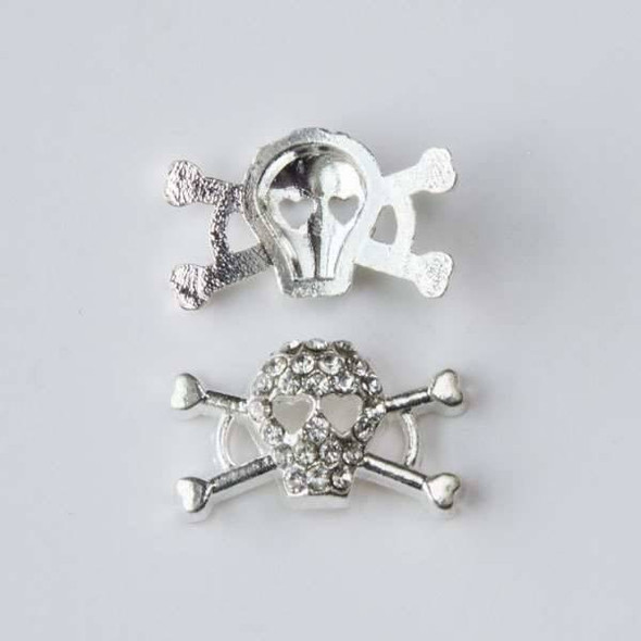 Pave 10x17mm Silver Skull and Cross Bones with Heart Eyes and Crystals