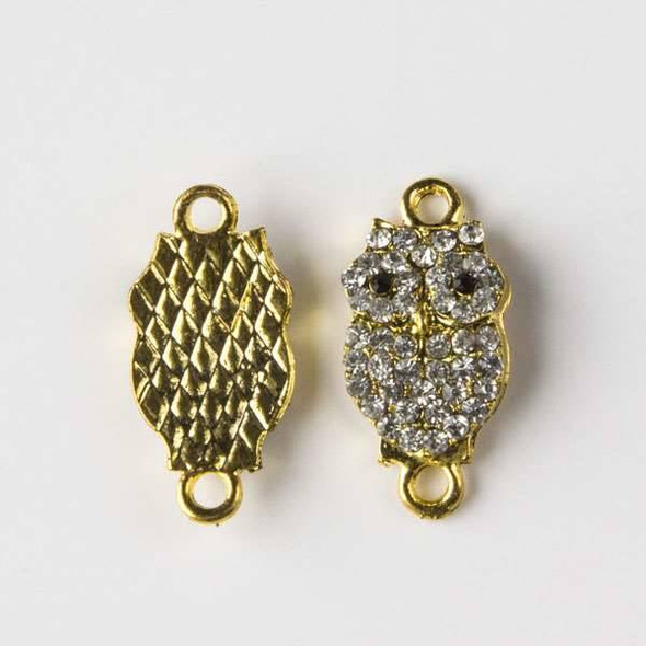 Pave 10x20mm Gold Convex Owl Link with Crystals