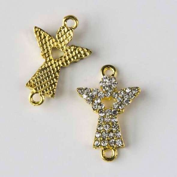 Pave 15x24mm Gold Convex Angel Link with Heart and Crystals