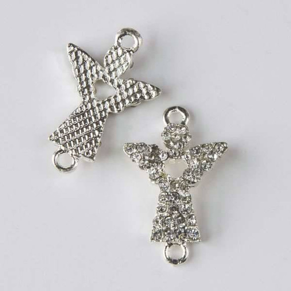 Pave 15x24mm Silver Convex Angel Link with Heart and Crystals