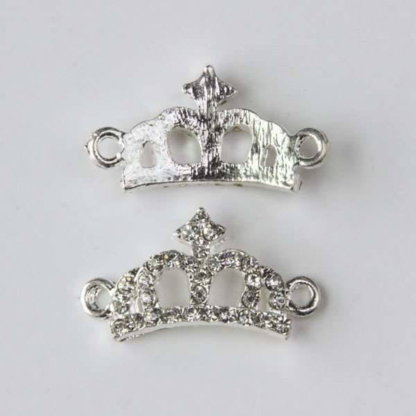 Pave 12x23mm Silver Convex Crown Link with Crystals