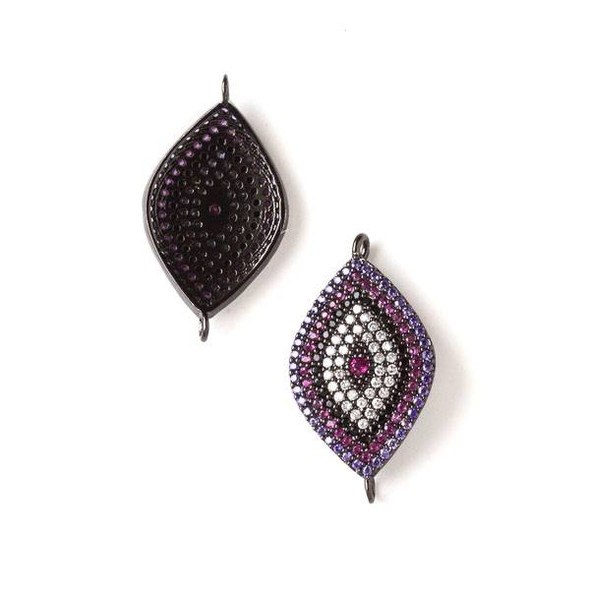 Gun Metal Plated Brass Pave 15x28mm Marquis Link with Purple, Pink, Jet Black, and Clear Crystals - 1 per bag