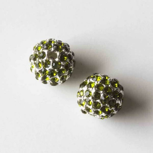 10mm Silver Pave Bead with Green Peridot Crystals
