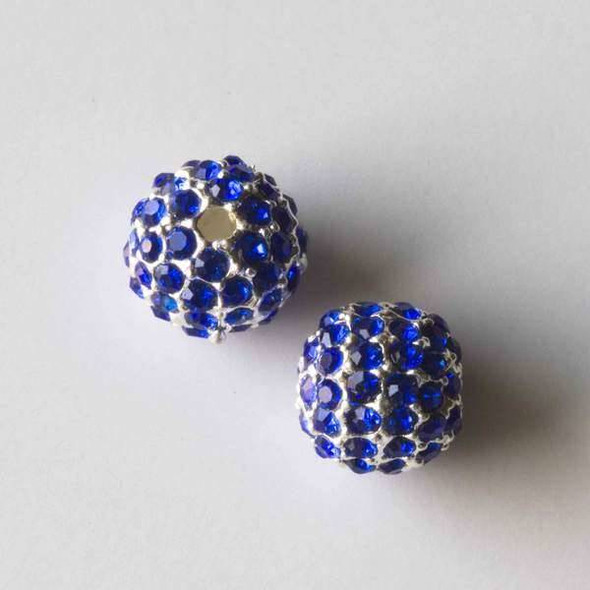 10mm Silver Pave Bead with Sapphire Blue Crystals