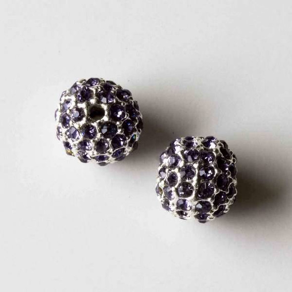 10mm Silver Pave Bead with Tanzanite Crystals