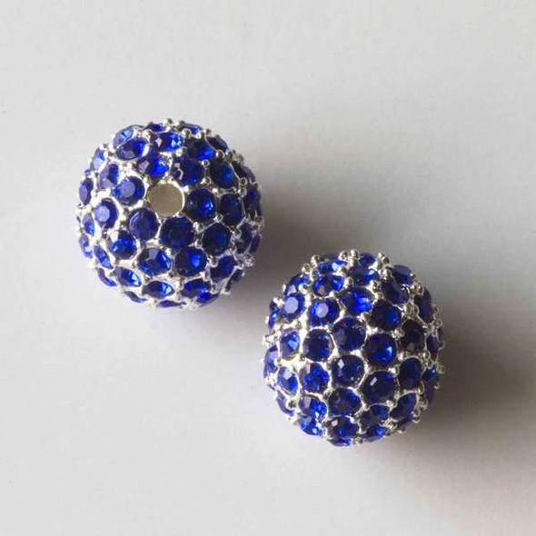 12mm Silver Pave Bead with Sapphire Blue Crystals