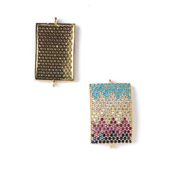 Gold Plated Brass Pave 15x25mm Rectangle Link with Chevron Patterned Crystals in Jet Black, Pink, Clear, and Blue - 1 per bag