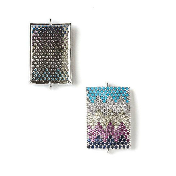 Silver Plated Brass Pave 15x25mm Rectangle Link with Chevron Patterned Crystals in Navy Blue, Pink, Clear, and Blue - 1 per bag