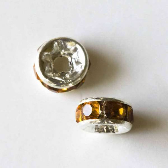 Silver Pave 3x6mm Rondelle with Amber Crystals - 10 per bag