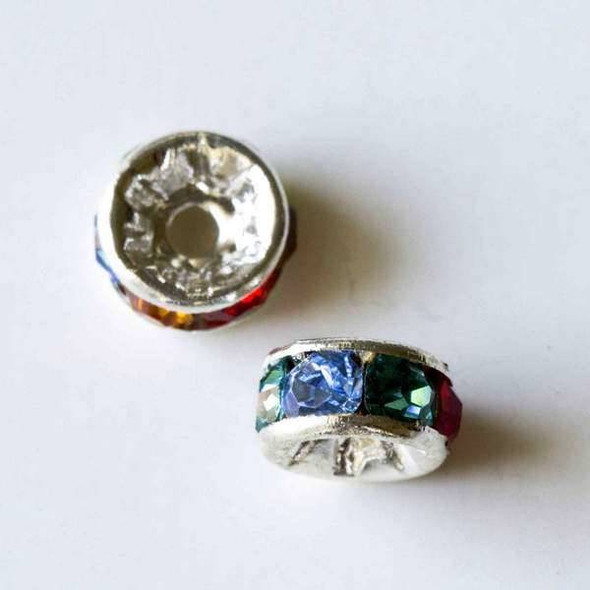 Silver Pave 3x6mm Rondelle with Multi Colored Crystals - 10 per bag