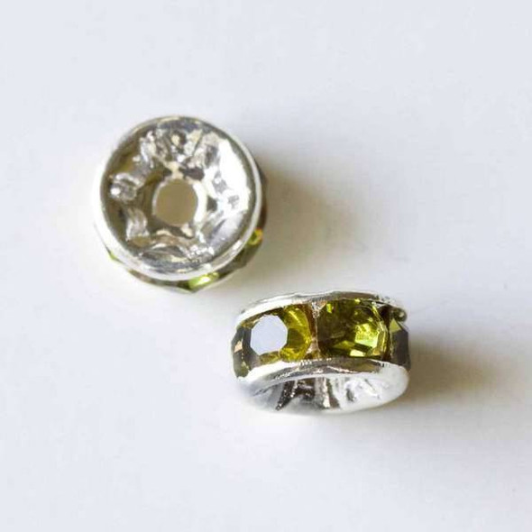 Silver Pave 3x6mm Rondelle with Olivine Crystals - 10 per bag
