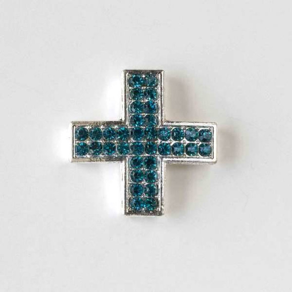 Pave 25mm Silver Square Cross with Aqua Crystals
