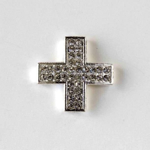 Pave 25mm Silver Square Cross with Crystals