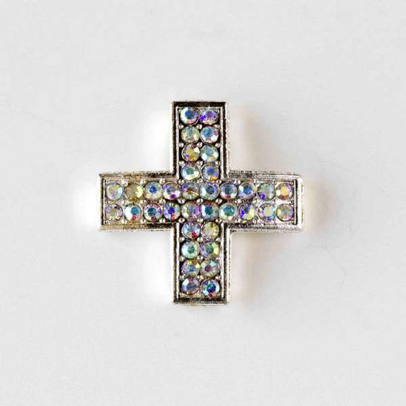 Pave 25mm Silver Square Cross with Crystals with an AB finish