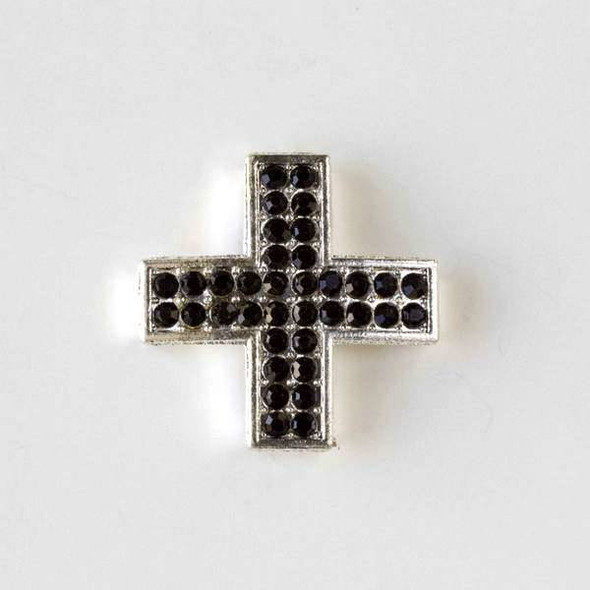 Pave 25mm Silver Square Cross with Jet Black Crystals