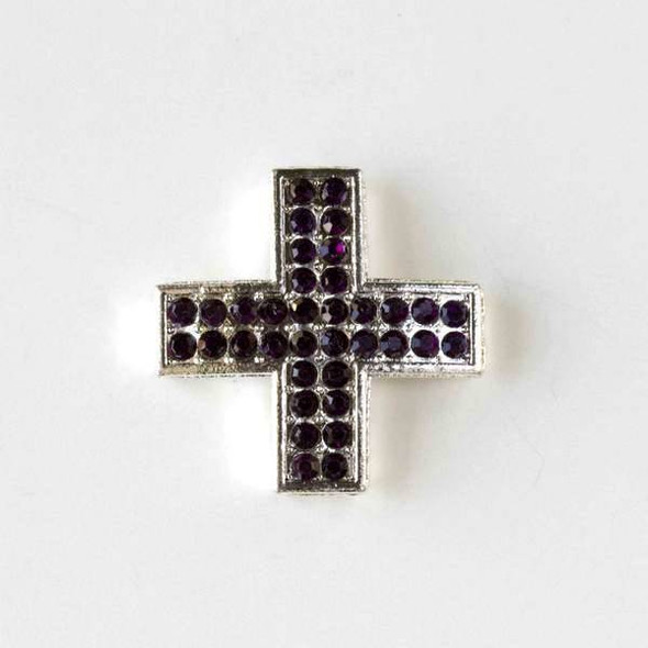 Pave 25mm Silver Square Cross with Lilac Crystals