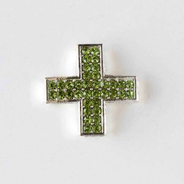 Pave 25mm Silver Square Cross with Light Green Chrysolite Crystals