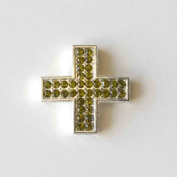 Pave 25mm Silver Square Cross with Olive Green Crystals