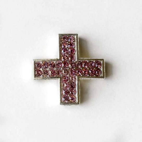 Pave 25mm Silver Square Cross with Rose Quartz Crystals