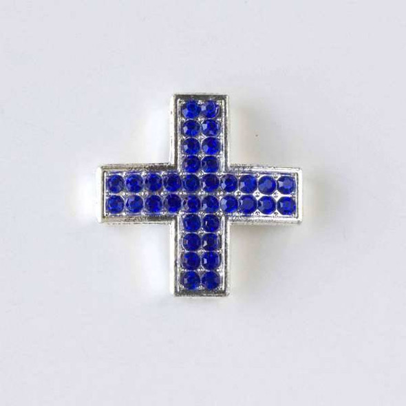 Pave 25mm Silver Square Cross with Sapphire Crystals