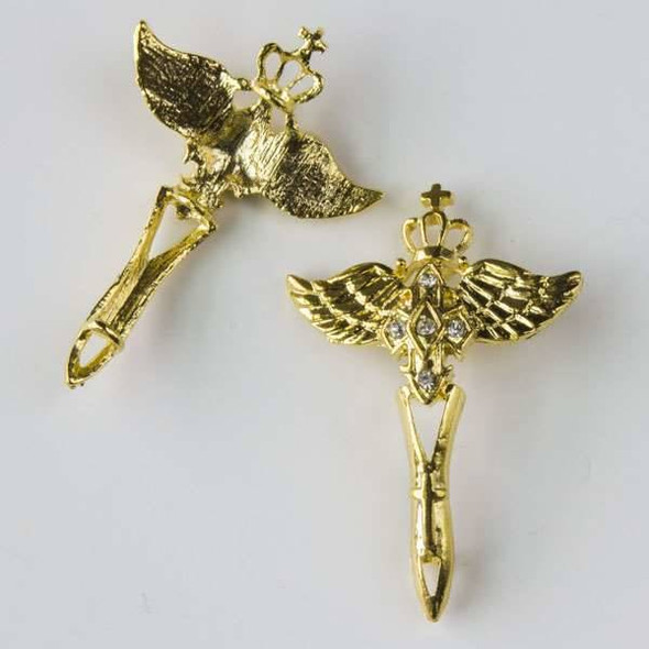 Pave 31x36mm Gold Winged Cross with Crown and Crystals