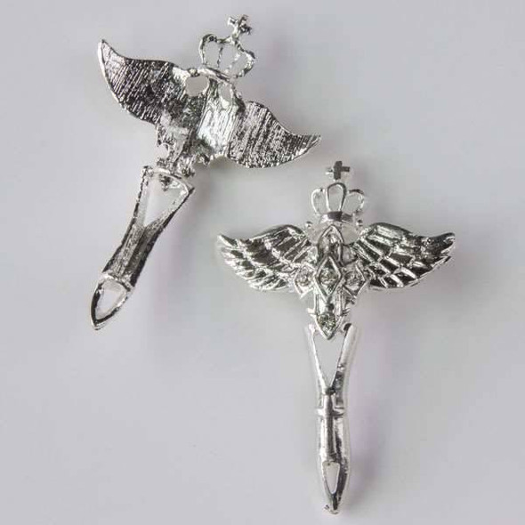 Pave 31x36mm Silver Winged Cross with Crown and Crystals