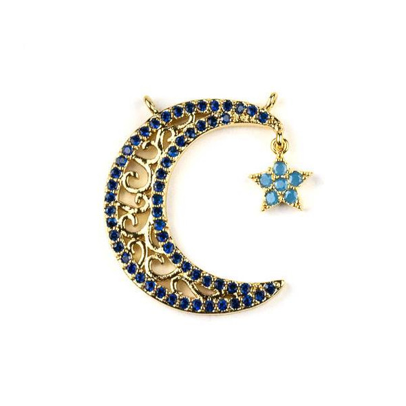 Gold Plated Brass Pave 21x25mm Crescent Moon and Star Dangle Pendant with Swirls and Blue Cubic Zirconias - 1 per bag