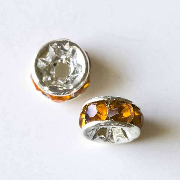 Silver Pave 3x6mm Rondelle with Tangerine Crystals - 10 per bag
