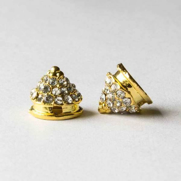 Pave 10mm Base Metal Gold Cone Spike with Crystals