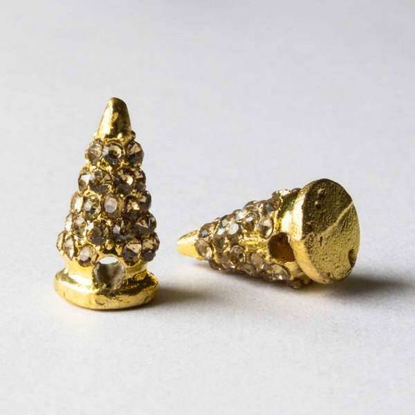 Pave 9x16mm Base Metal Gold Cone Spike with Champagne Crystals