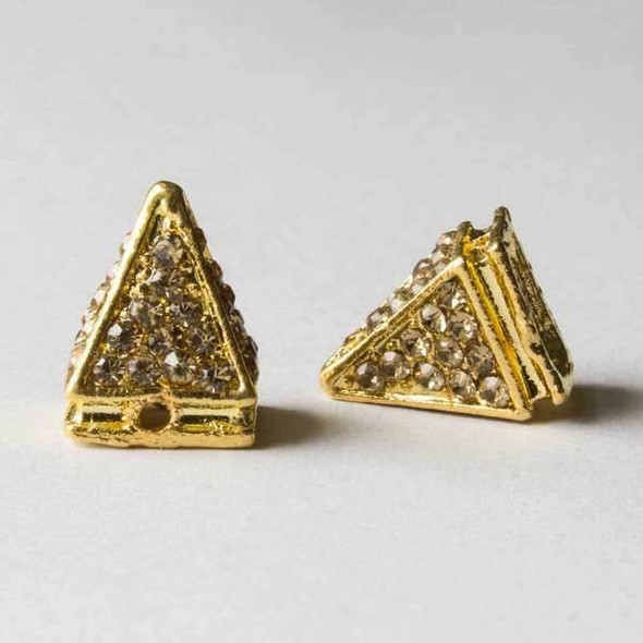 Pave 10x14mm Base Metal Gold Pyramid Spike with Champagne Crystals