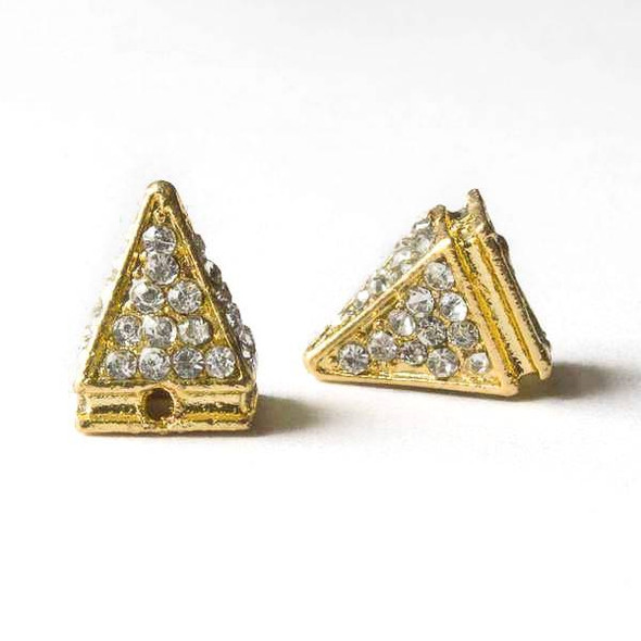 Pave 10x14mm Base Metal Gold Pyramid Spike with Crystals