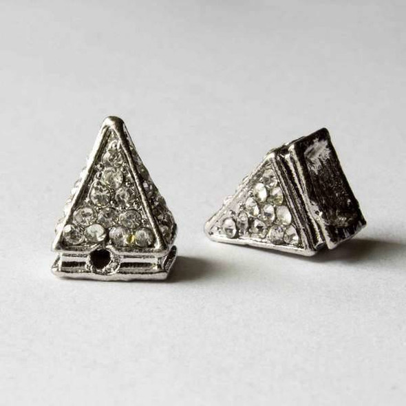 Pave 10x14mm Base Metal Silver Pyramid Spike with Crystals