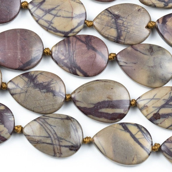 Purple Cherry Creek Jasper 18x25mm Teardrop Beads - knotted 16 inch strand
