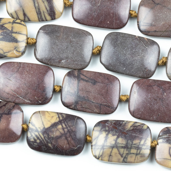 Purple Cherry Creek Jasper 18x25mm Rectangle Beads - knotted 16 inch strand