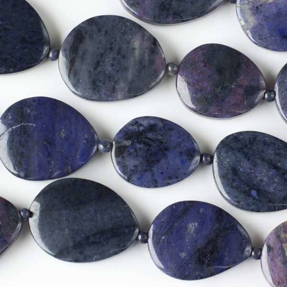 Purple Dumortierite 23x28-30x35mm Slabs alternating with 4mm Rounds - approx. 8 inch strand