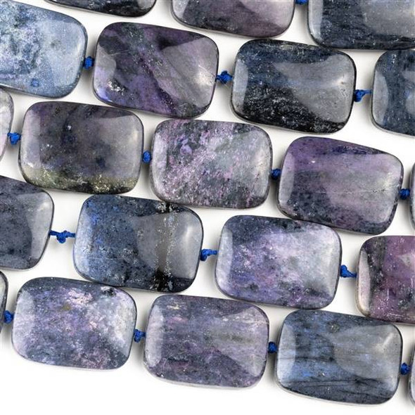 Purple Dumortierite 18x25mm Rectangle Beads - 16 inch knotted strand