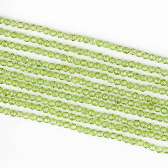 Peridot 3mm Microfaceted Round Beads - 15.5 inch strand