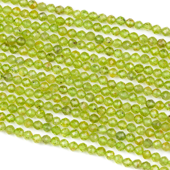 Peridot 4mm Faceted Round Beads - 15.5 inch strand