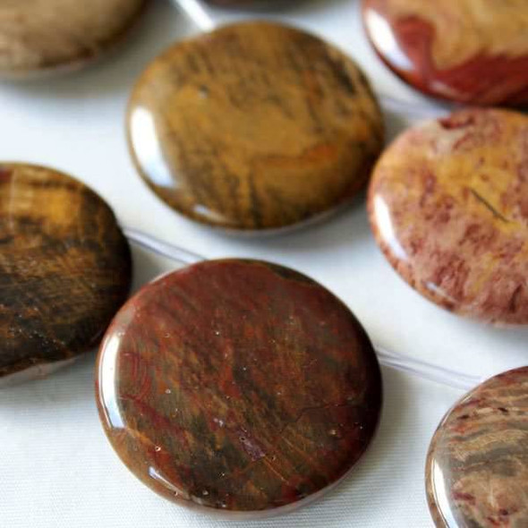 Petrified Wood Jasper 35mm Top Drilled Coin