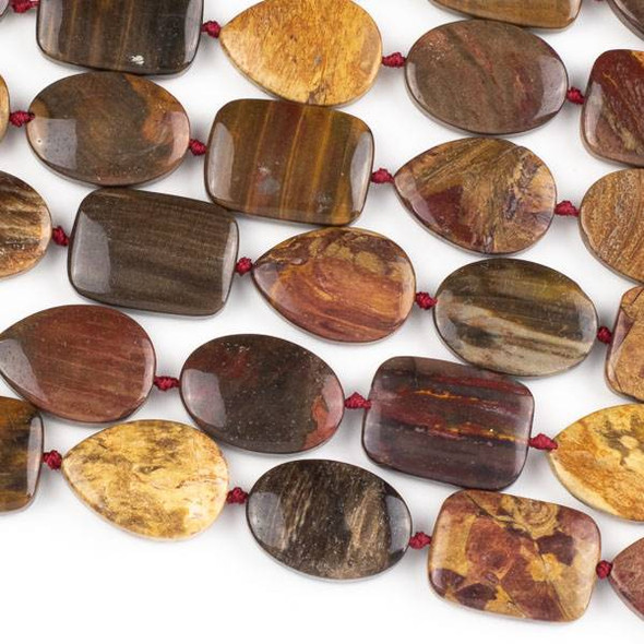 Petrified Wood Jasper 18x25mm Knotted Alternating Ovals, Rectangles, and Teardrop Beads - 16 inch strand