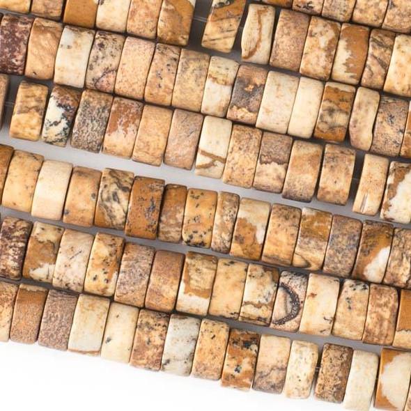 Matte Picture Jasper 4x8mm Heishi Beads - 16 inch strand