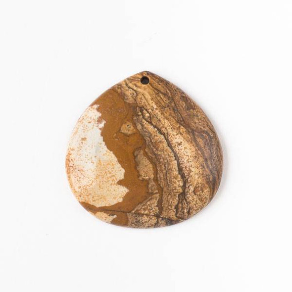 Picture Jasper 40mm Top Front to Back Drilled Almond Pendant with a Flat Back - 1 per bag