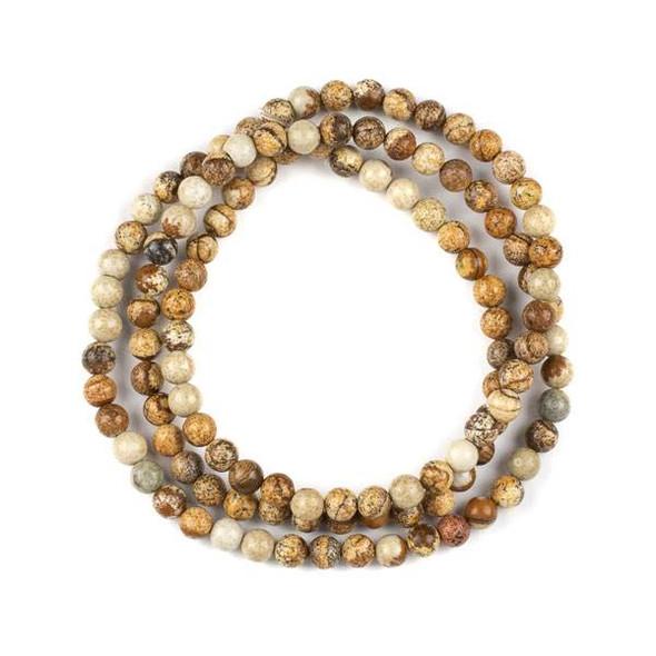 Picture Jasper 6mm Mala Round Beads - 29 inch strand