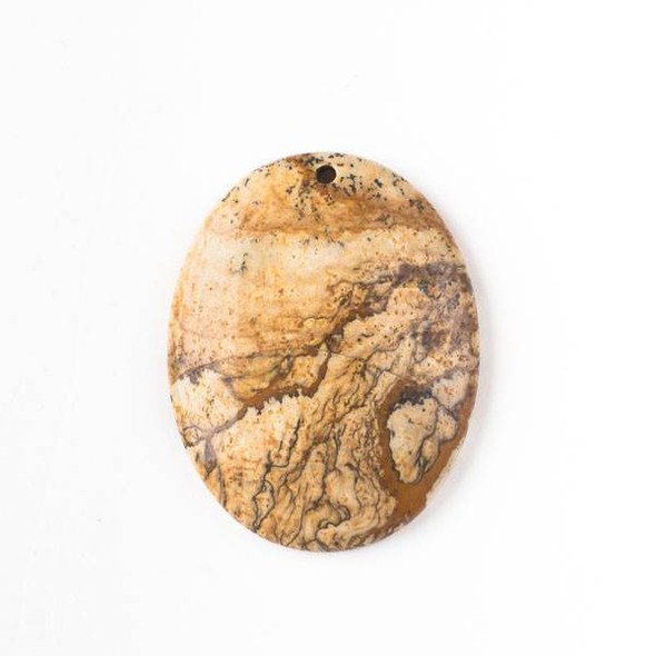 Picture Jasper 35x45mm Top Front to Back Drilled Oval Pendant with a Flat Back - 1 per bag